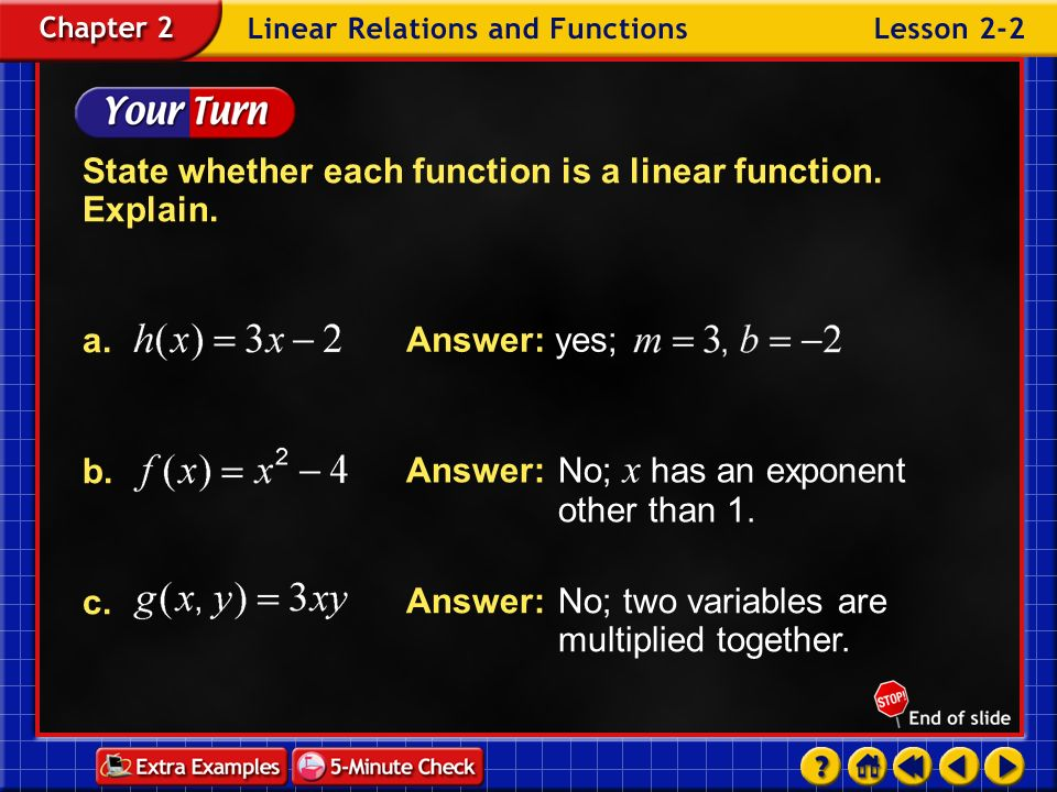 Example 2-1c State whether is a linear function. Explain. Answer:This is a linear function because it can be written as