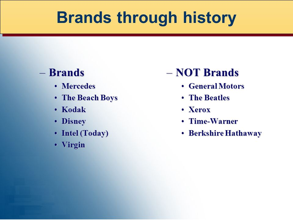 –Brands MercedesMercedes The Beach BoysThe Beach Boys KodakKodak DisneyDisney Intel (Today)Intel (Today) VirginVirgin –NOT Brands General MotorsGeneral Motors The BeatlesThe Beatles XeroxXerox Time-WarnerTime-Warner Berkshire HathawayBerkshire Hathaway Brands through history