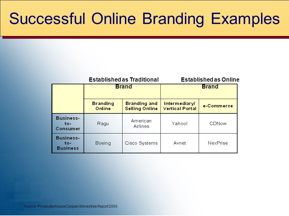 Established as Traditional Brand Established as Online Brand Source: PricewaterhouseCoopers Moneytree Report 2000.