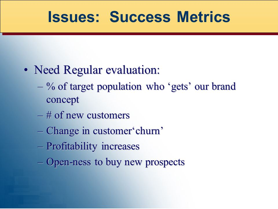 Need Regular evaluation:Need Regular evaluation: –% of target population who gets our brand concept –# of new customers –Change in customerchurn –Profitability increases –Open-ness to buy new prospects Issues: Success Metrics