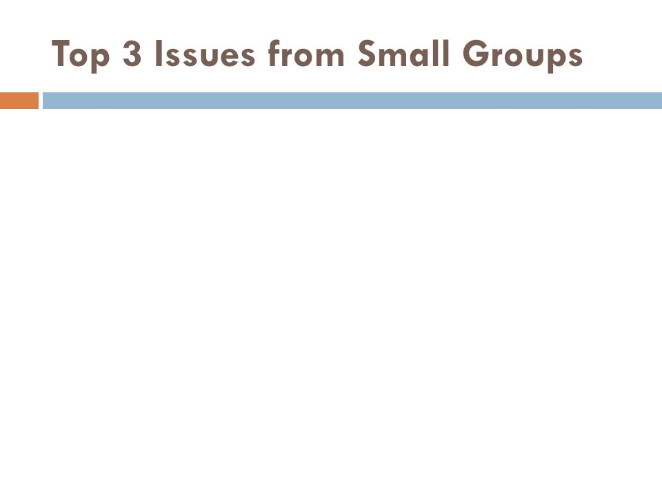 Top 3 Issues from Small Groups