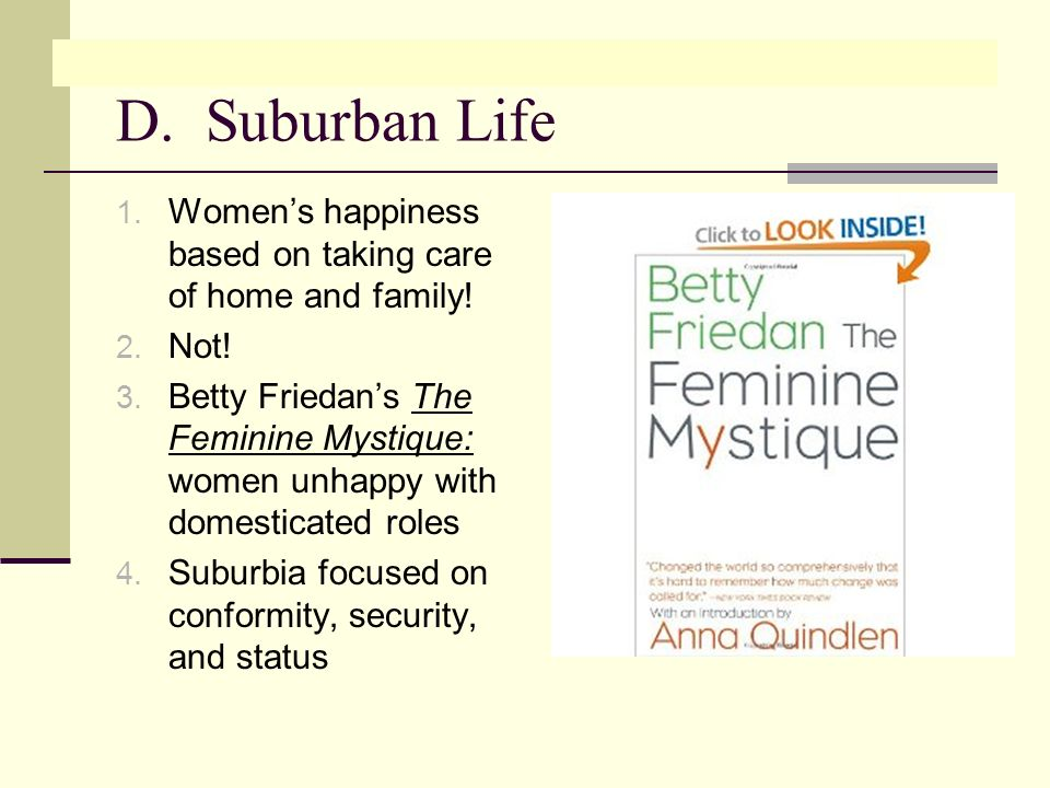 D. Suburban Life 1. Womens happiness based on taking care of home and family.
