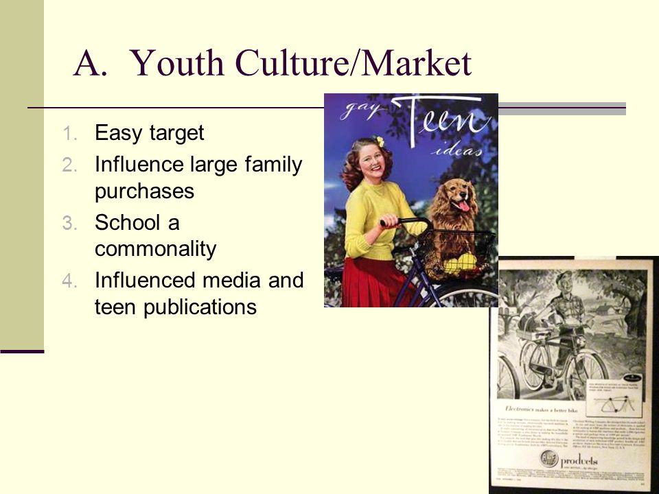 A. Youth Culture/Market 1. Easy target 2. Influence large family purchases 3. School a commonality 4. Influenced media and teen publications