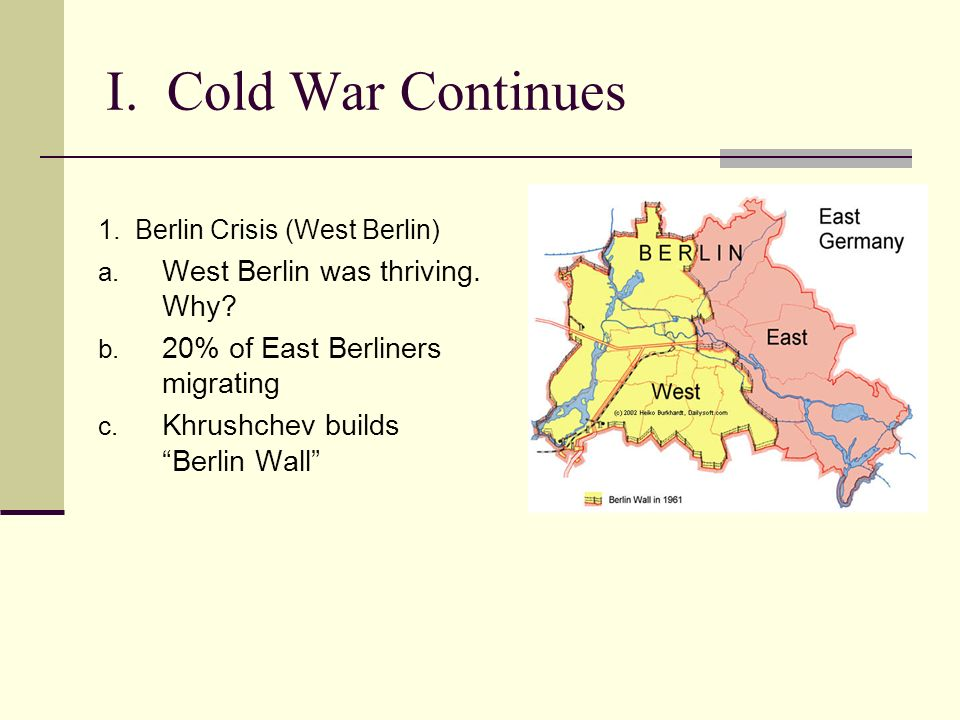 I. Cold War Continues 1. Berlin Crisis (West Berlin) a. West Berlin was thriving. Why? b. 20% of East Berliners migrating c. Khrushchev builds Berlin