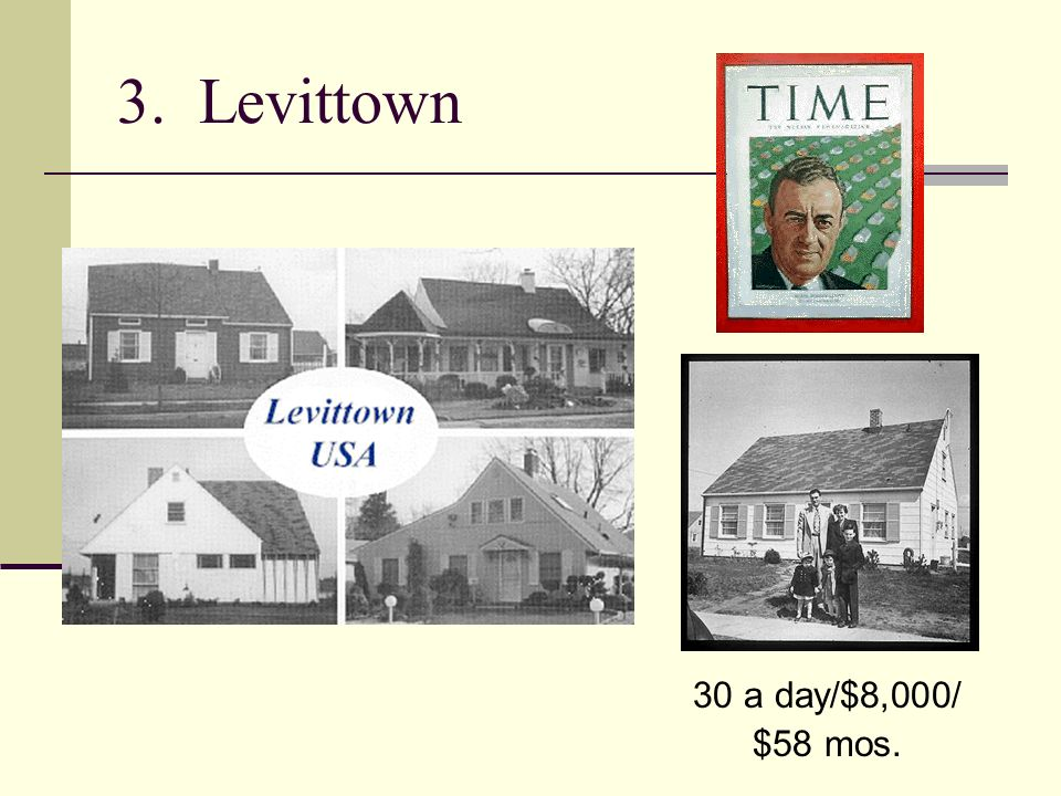 3. Levittown 30 a day/$8,000/ $58 mos.