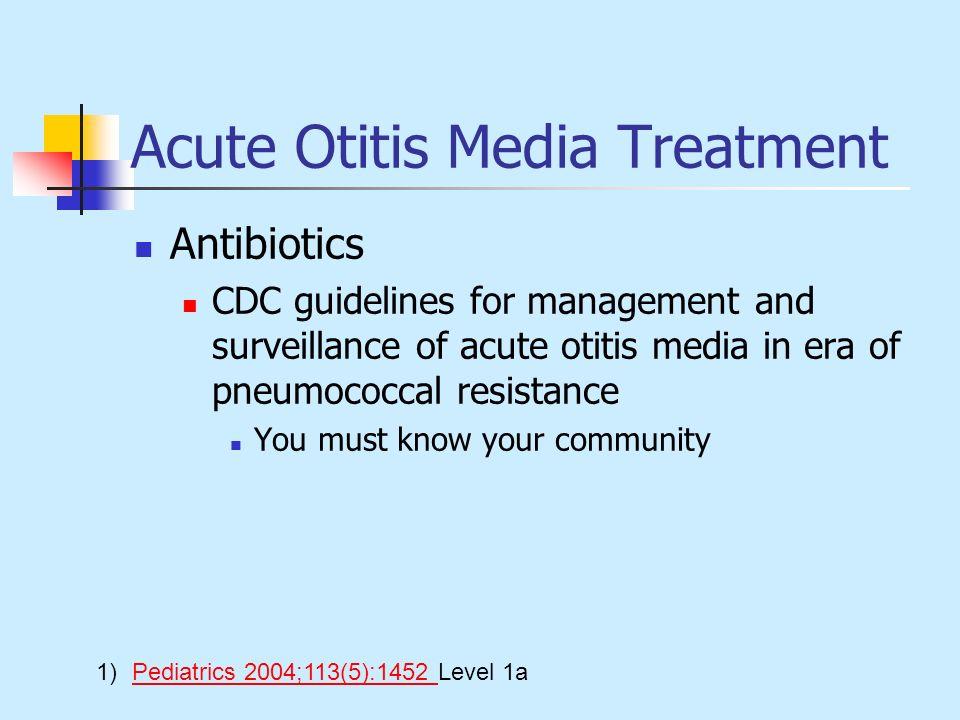 Acute Otitis Media Treatment Antibiotics CDC guidelines for management and surveillance of acute otitis media in era of pneumococcal resistance You mu