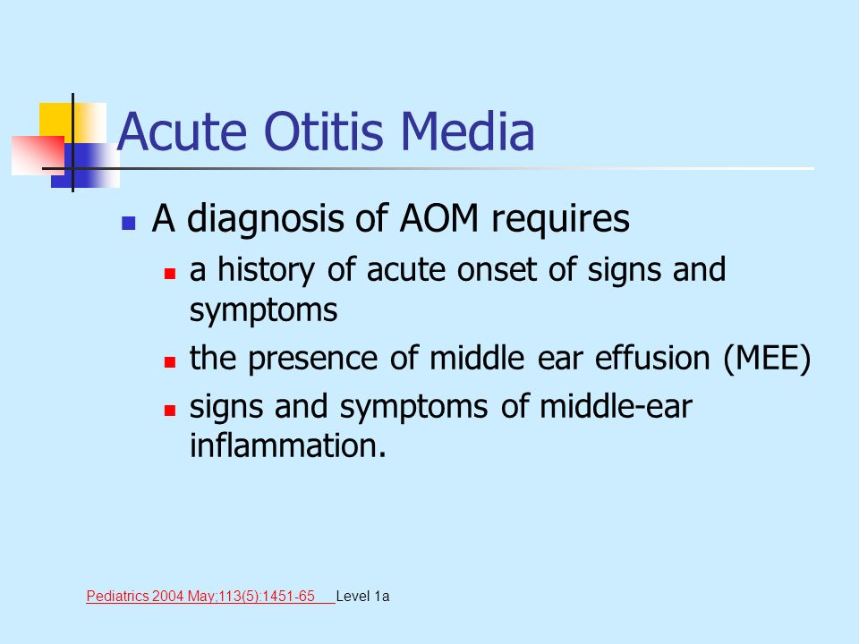 Acute Otitis Media A diagnosis of AOM requires a history of acute onset of signs and symptoms the presence of middle ear effusion (MEE) signs and symp