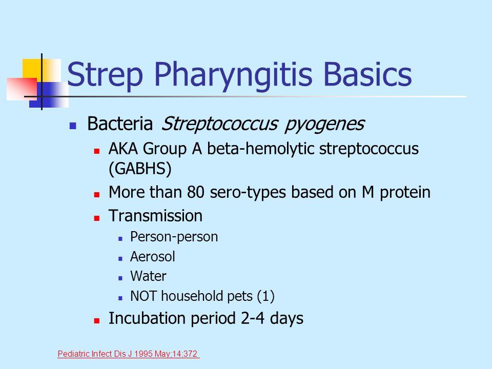 Strep Pharyngitis Basics Bacteria Streptococcus pyogenes AKA Group A beta-hemolytic streptococcus (GABHS) More than 80 sero-types based on M protein T