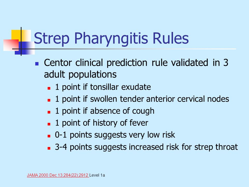 Strep Pharyngitis Rules Centor clinical prediction rule validated in 3 adult populations 1 point if tonsillar exudate 1 point if swollen tender anteri