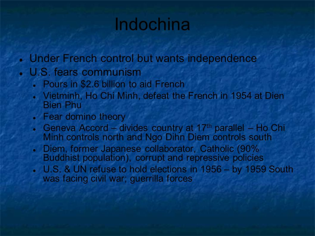 Indochina Under French control but wants independence U.S.