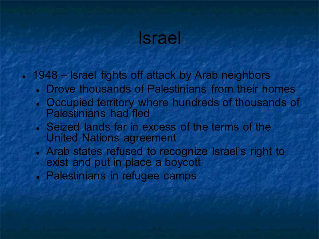 Israel 1948 – Israel fights off attack by Arab neighbors Drove thousands of Palestinians from their homes Occupied territory where hundreds of thousan
