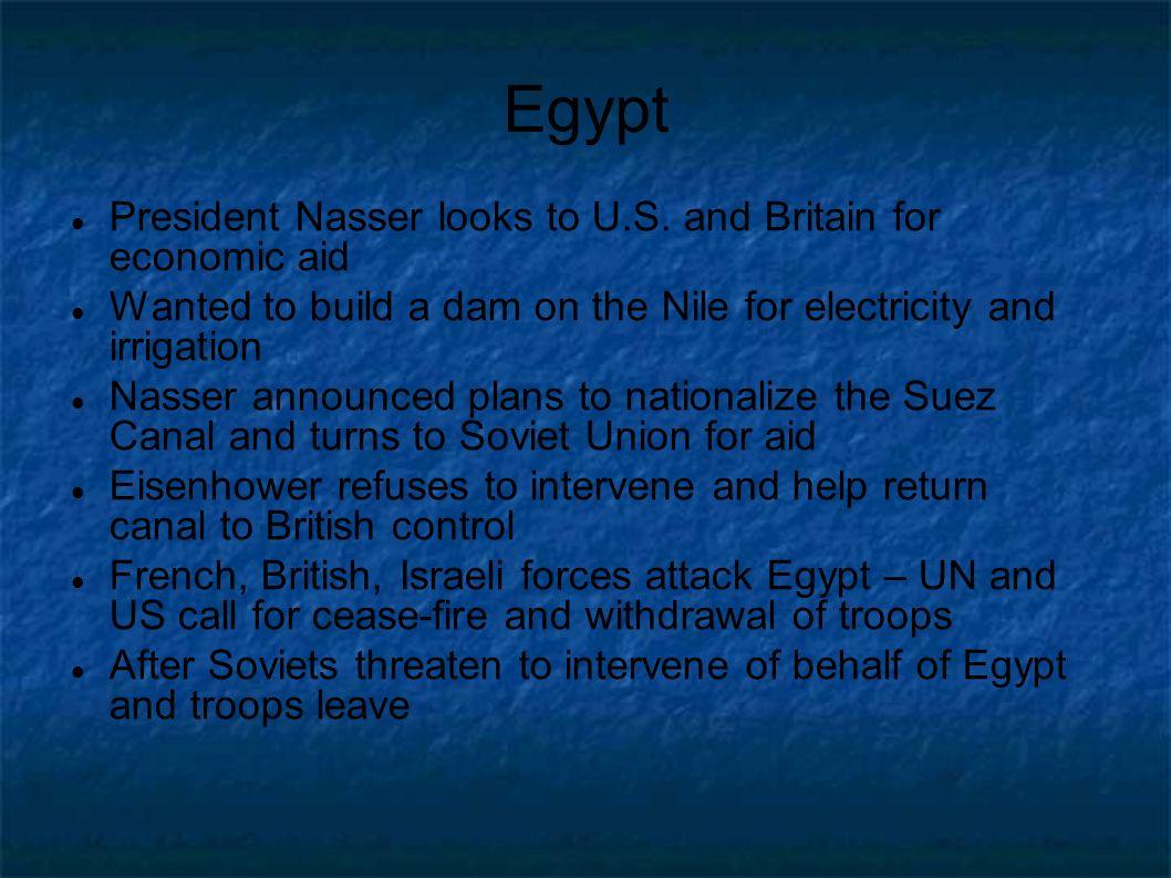 Egypt President Nasser looks to U.S.