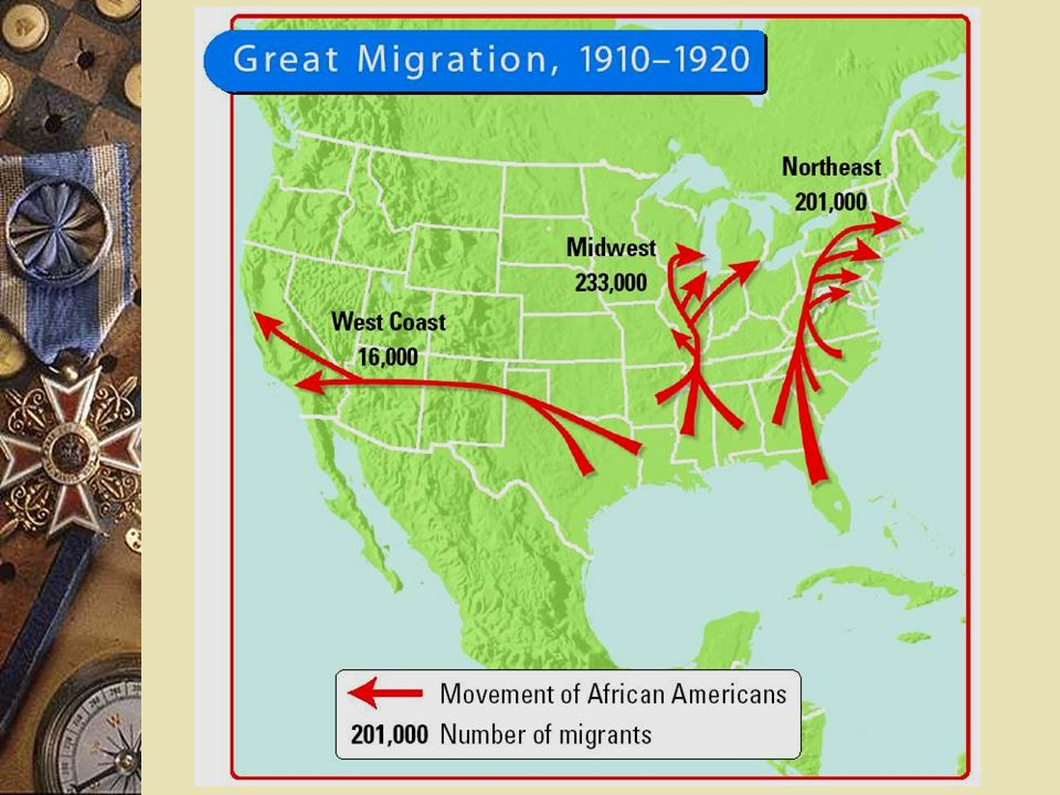 Opportunities for African-Americans Great Migration – 1916-1919 – 70,000 African Americans more to northern cities – Wanted to escape poverty, indebte