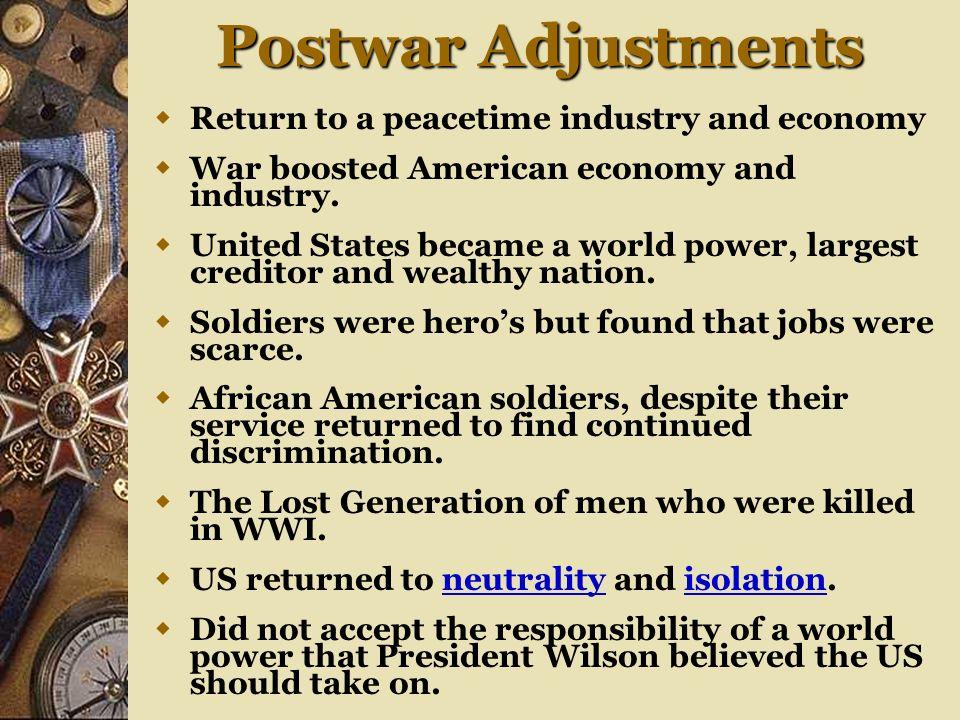 Post War Adjustments