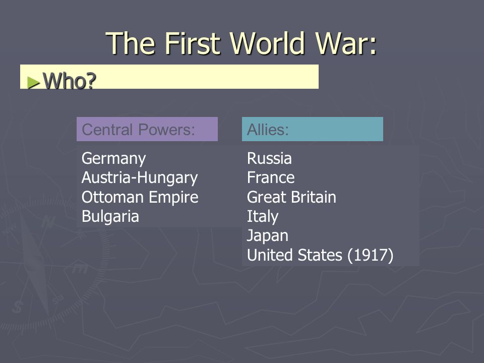 The First World War: Who. Who.