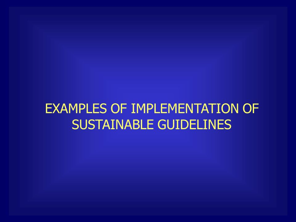 EXAMPLES OF IMPLEMENTATION OF SUSTAINABLE GUIDELINES