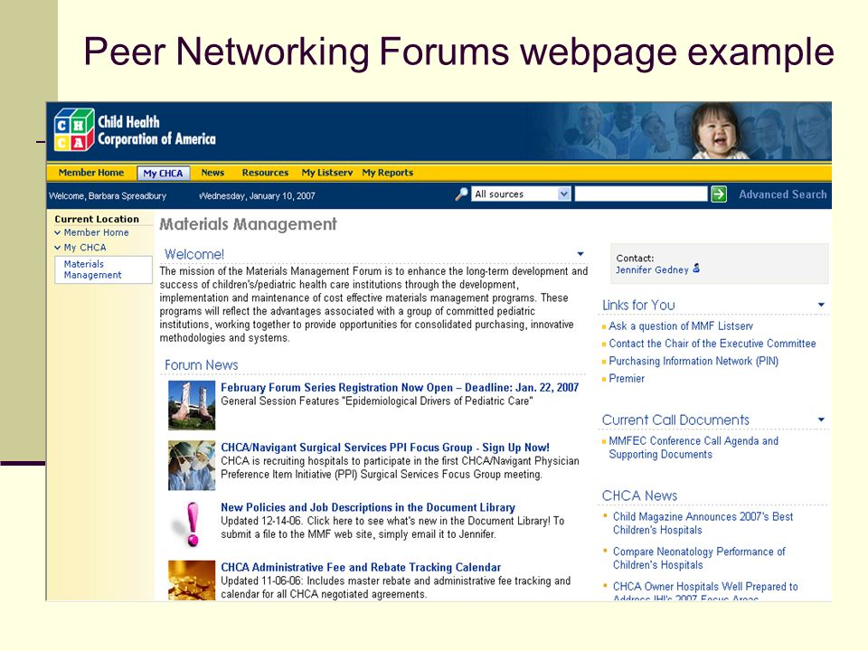 Peer Networking Forums webpage example