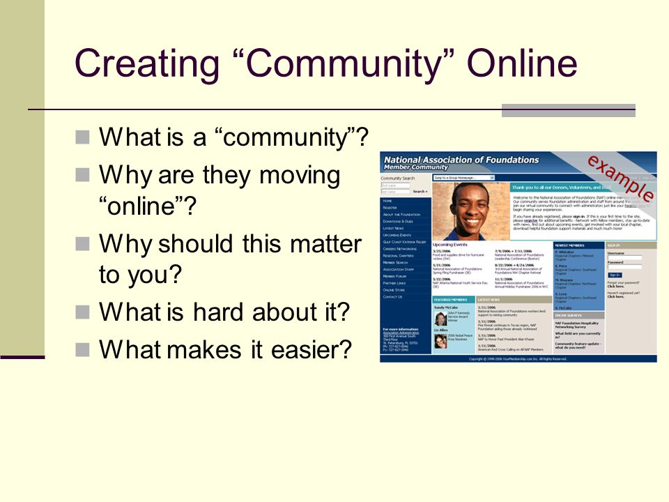 Creating Community Online What is a community. Why are they moving online.