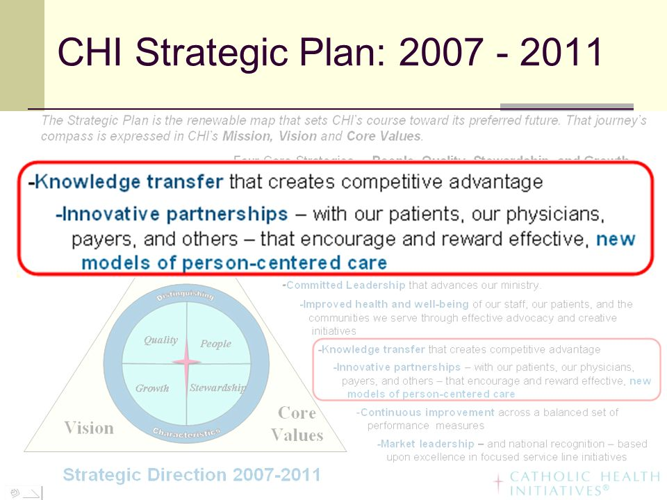 CHI Strategic Plan: 2007 - 2011