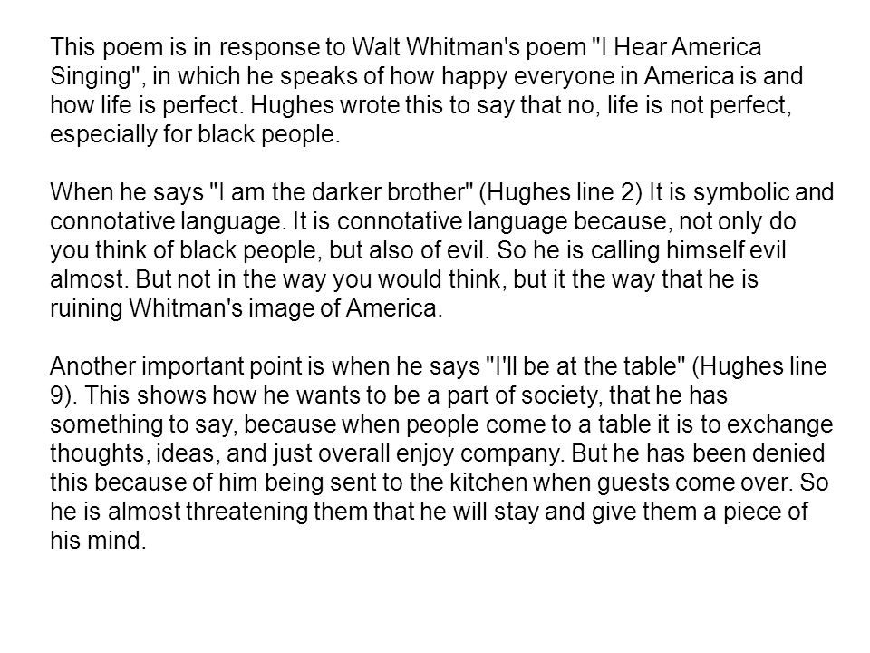 This poem is in response to Walt Whitman's poem