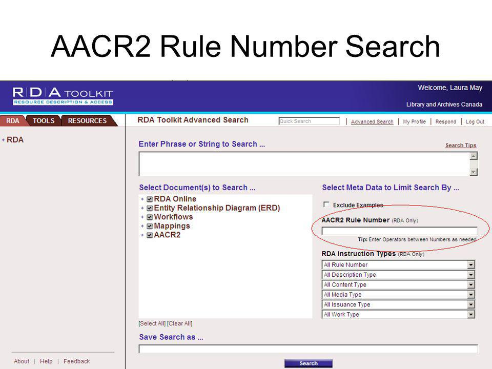 AACR2 Rule Number Search