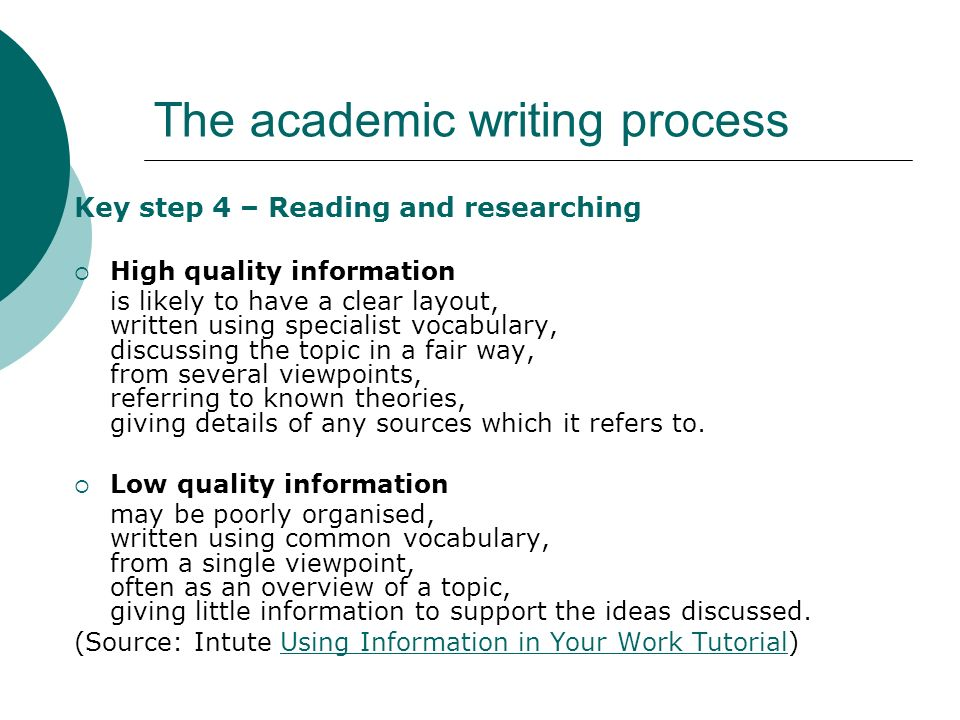The academic writing process Key step 4 – Reading and researching High quality information is likely to have a clear layout, written using specialist