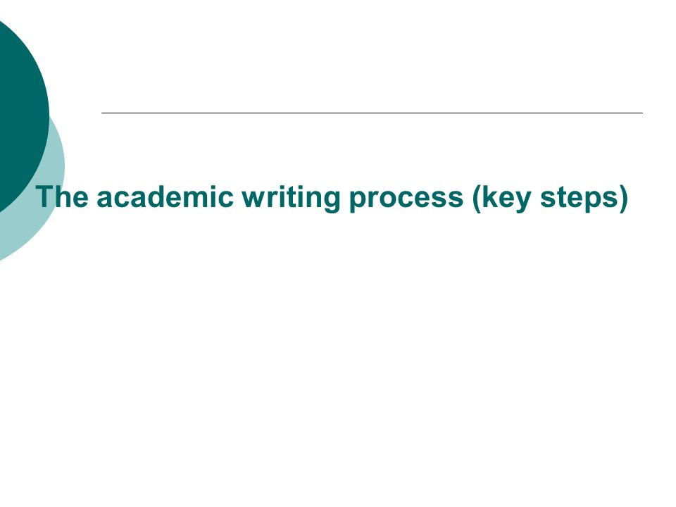 The academic writing process (key steps)
