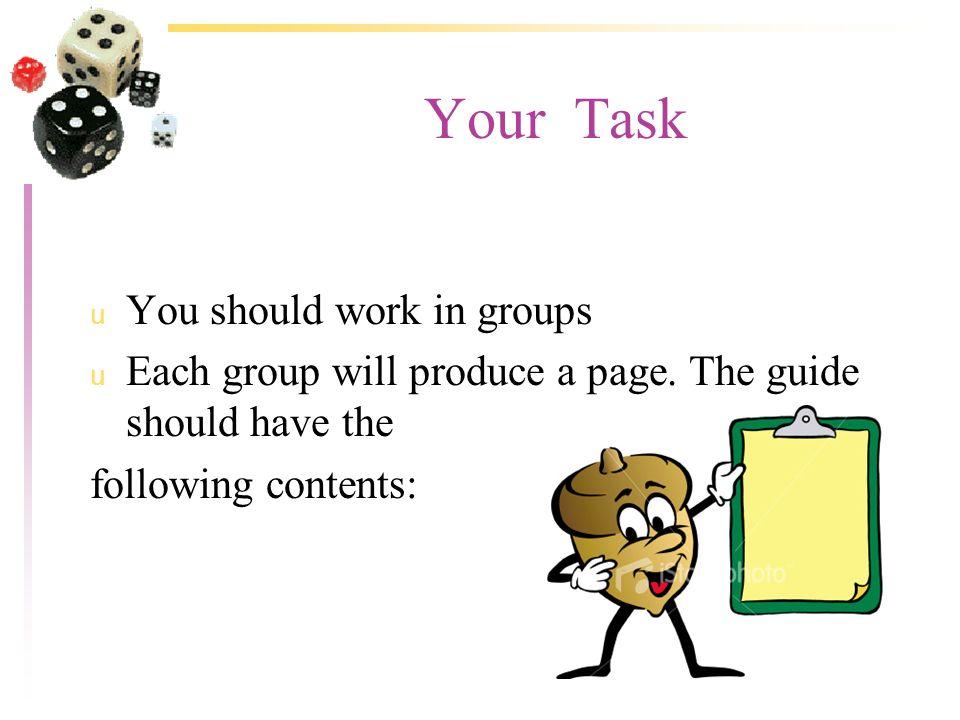The Guide: u How do I organise myself.u What must I wear.