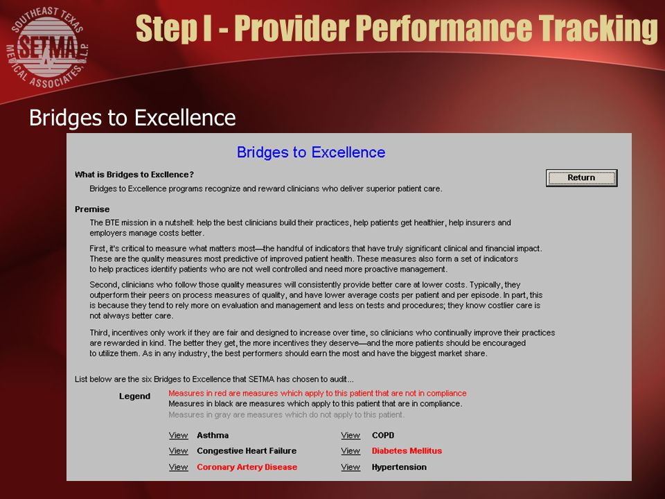 Step I - Provider Performance Tracking Bridges to Excellence