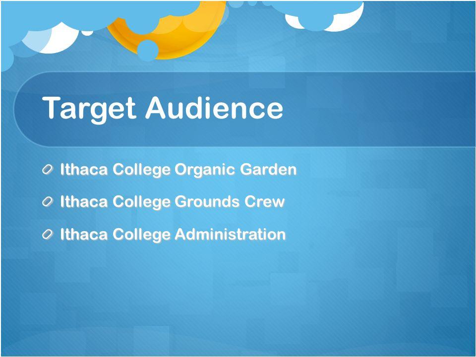 Target Audience Ithaca College Organic Garden Ithaca College Grounds Crew Ithaca College Administration