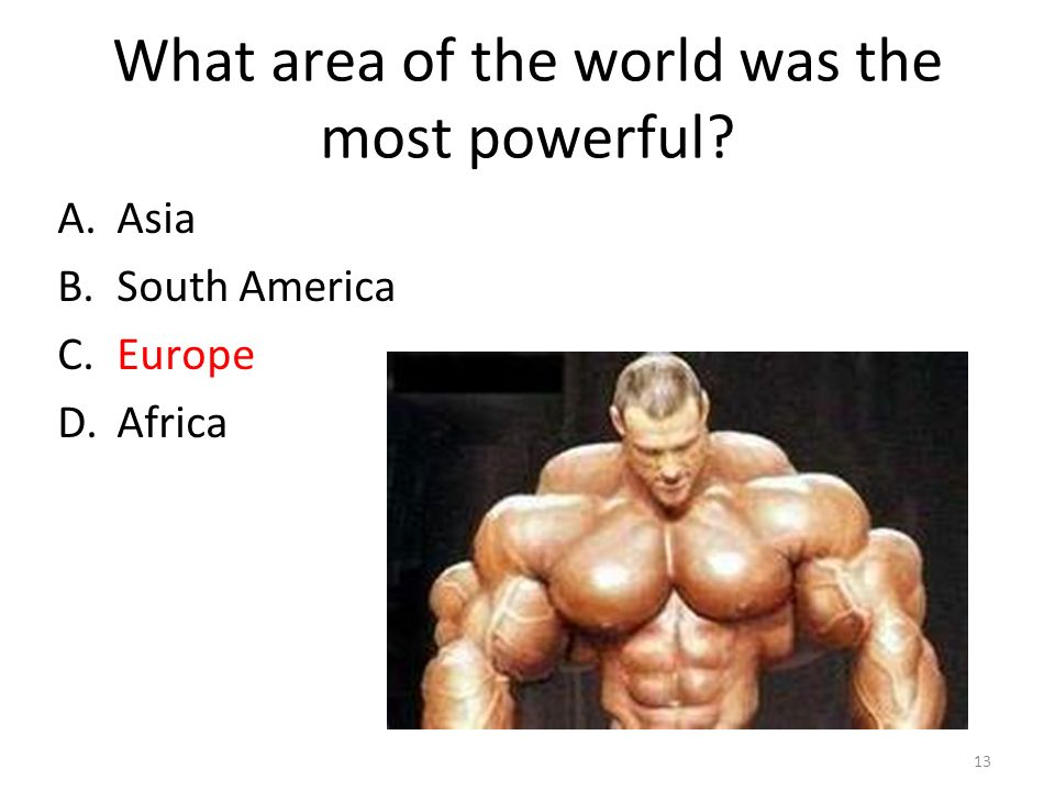 What area of the world was the most powerful A.Asia B.South America C.Europe D.Africa 13