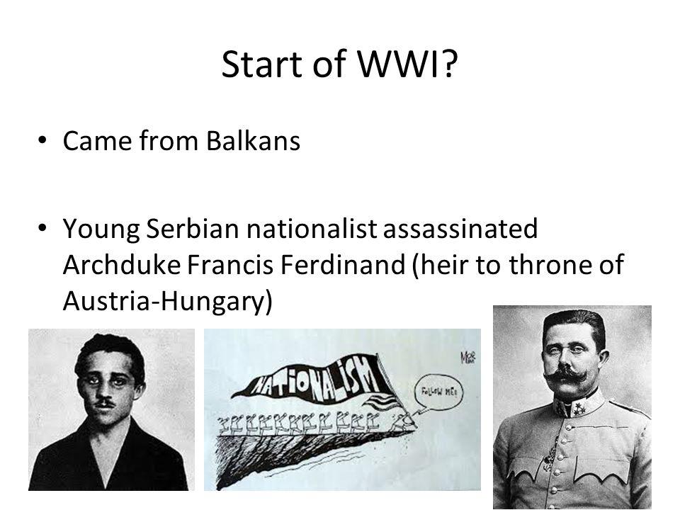 Start of WWI.