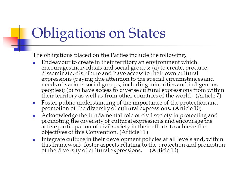 Obligations on States The obligations placed on the Parties include the following. Endeavour to create in their territory an environment which encoura