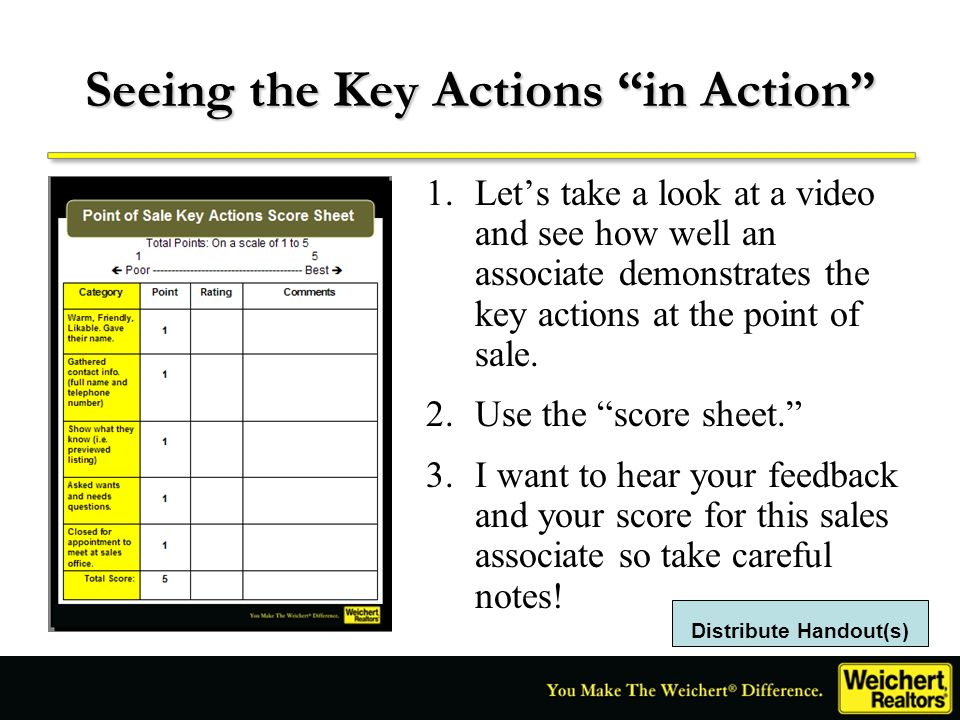 Seeing the Key Actions in Action 1.Lets take a look at a video and see how well an associate demonstrates the key actions at the point of sale. 2.Use