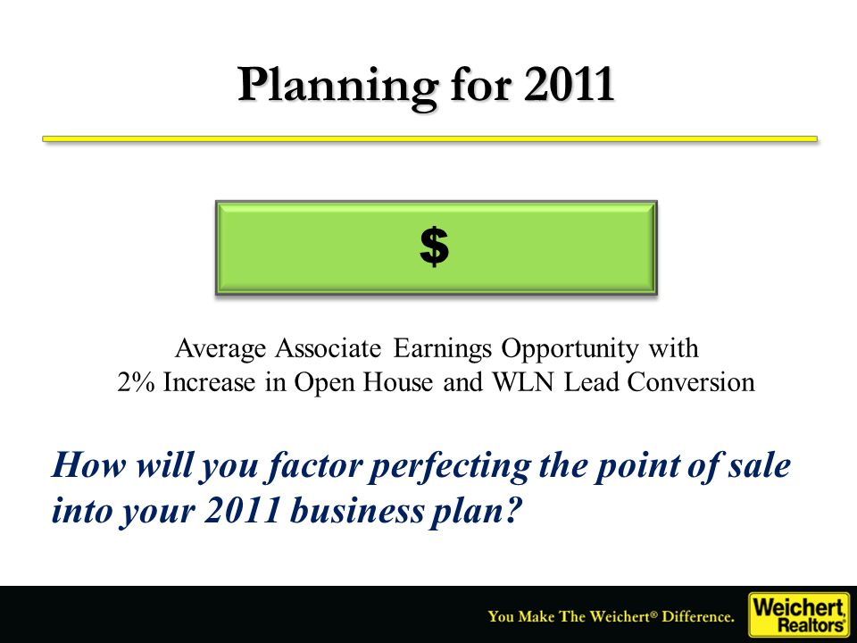 How will you factor perfecting the point of sale into your 2011 business plan? Planning for 2011 $ Average Associate Earnings Opportunity with 2% Incr