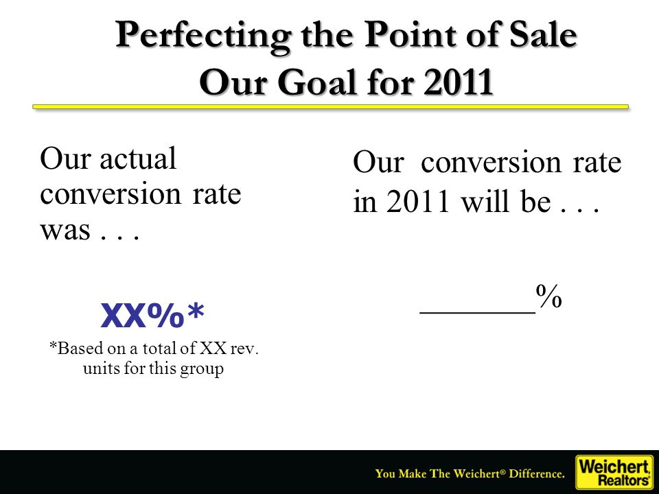 Perfecting the Point of Sale Our Goal for 2011 Our actual conversion rate was... XX%* *Based on a total of XX rev. units for this group Our conversion