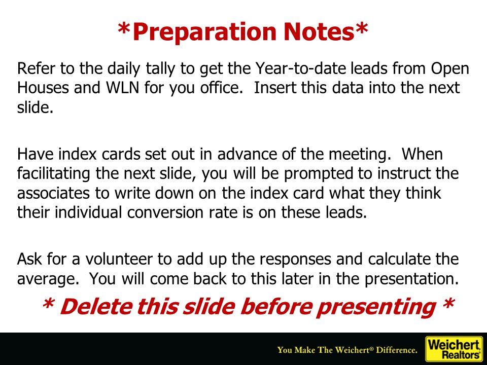 *Preparation Notes* Refer to the daily tally to get the Year-to-date leads from Open Houses and WLN for you office. Insert this data into the next sli