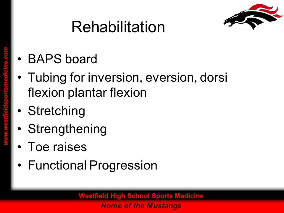 Rehabilitation BAPS board Tubing for inversion, eversion, dorsi flexion plantar flexion Stretching Strengthening Toe raises Functional Progression