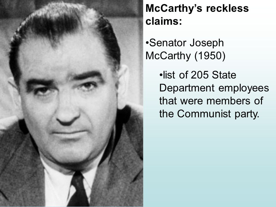 McCarthyism Compared to Salem Witch Trials Wisconsin Republican Joseph R.McCarthy