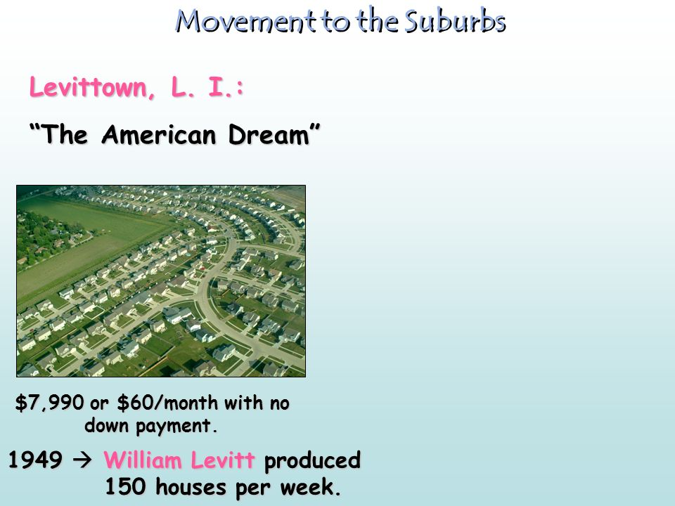 Movement to the Suburbs $7,990 or $60/month with no down payment.