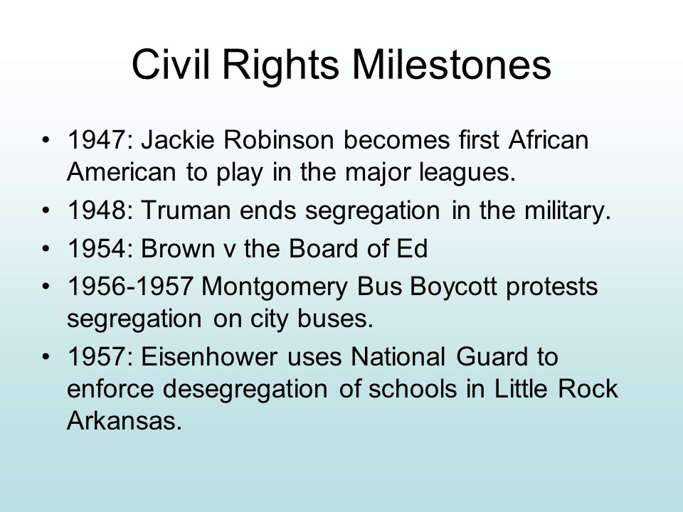 Major Events of the Civil Rights Movement Little Rock Crisis Montgomery Bus Boycott March on Washington, D.C. Watts Riots