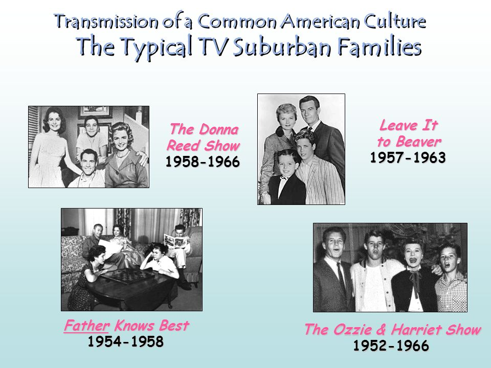 Transmission of a Common American Culture The Typical TV Suburban Families The Donna Reed Show 1958-1966 Leave It to Beaver 1957-1963 Father Knows Best 1954-1958 The Ozzie & Harriet Show 1952-1966