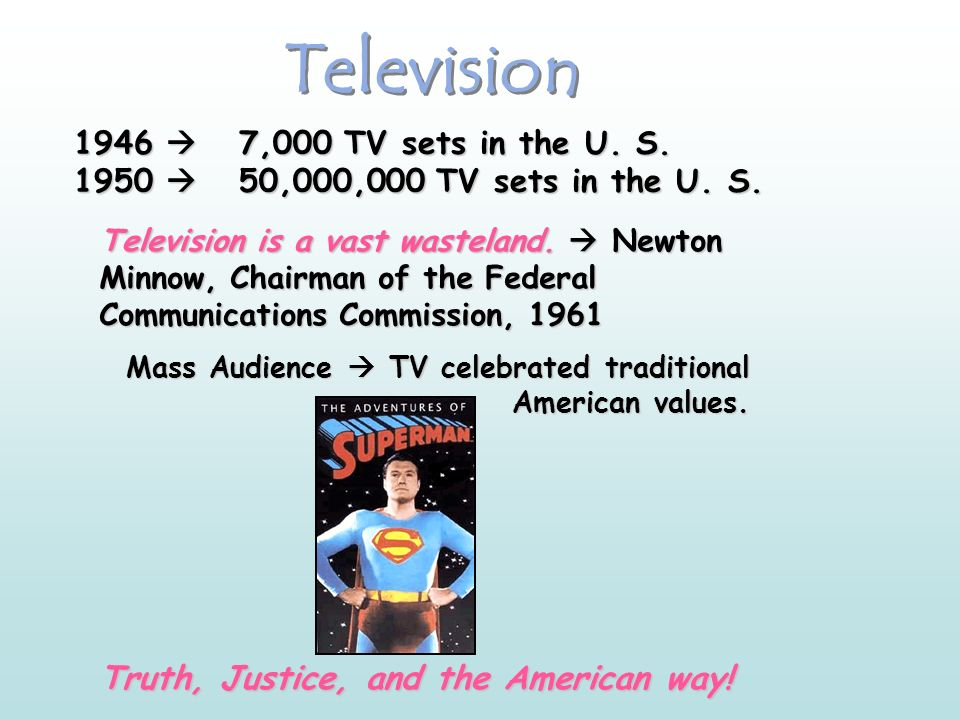 Television 1946 7,000 TV sets in the U.S. 1950 50,000,000 TV sets in the U.