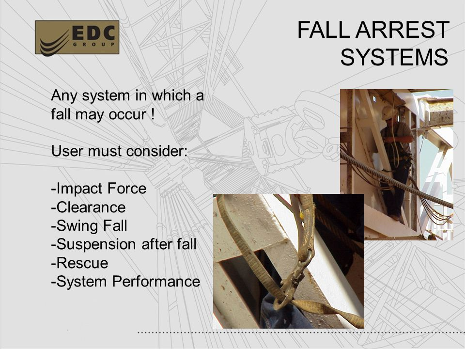 13 Any system in which a fall may occur ! User must consider: -Impact Force -Clearance -Swing Fall -Suspension after fall -Rescue -System Performance