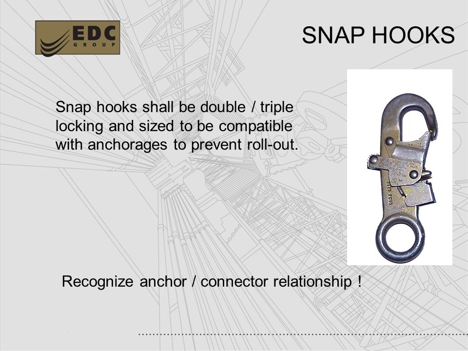 20 Snap hooks shall be double / triple locking and sized to be compatible with anchorages to prevent roll-out. Recognize anchor / connector relationsh