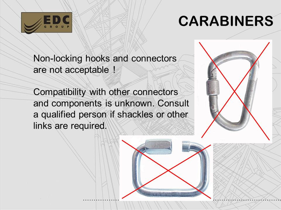 22 Non-locking hooks and connectors are not acceptable ! Compatibility with other connectors and components is unknown. Consult a qualified person if
