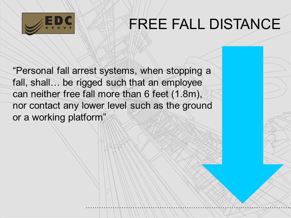 29 Personal fall arrest systems, when stopping a fall, shall… be rigged such that an employee can neither free fall more than 6 feet (1.8m), nor conta