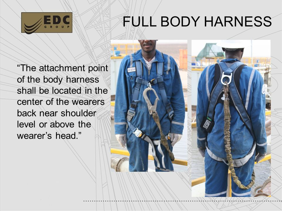 32 FULL BODY HARNESS The attachment point of the body harness shall be located in the center of the wearers back near shoulder level or above the wear