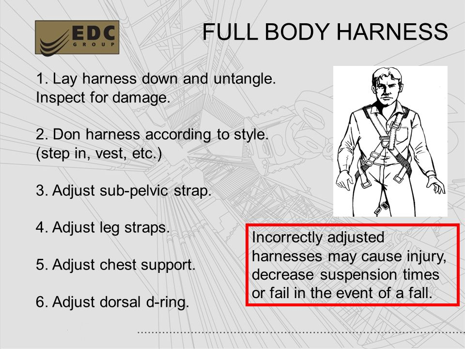 34 1. Lay harness down and untangle. Inspect for damage. 2. Don harness according to style. (step in, vest, etc.) 3. Adjust sub-pelvic strap. 4. Adjus