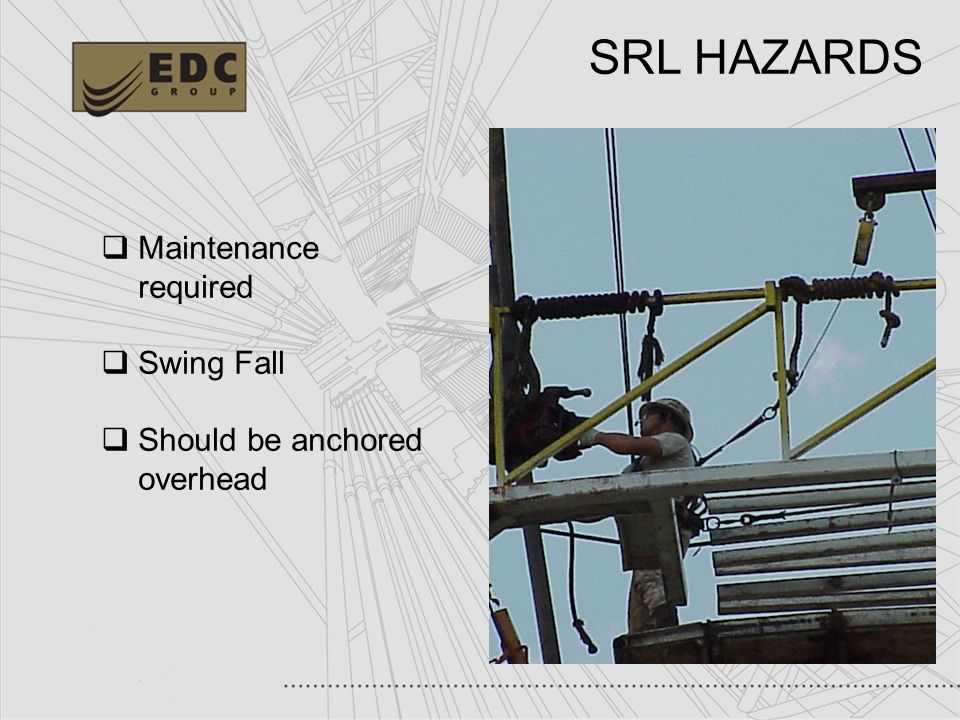 36 SRL HAZARDS Maintenance required Swing Fall Should be anchored overhead